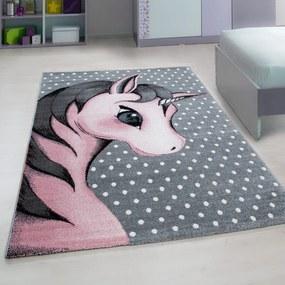 DomTextilu Rozprávkový sivý koberec pre dievčatko jednorožec 42010-197365