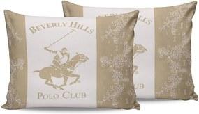 Sada 2 krémových bavlnených obliečok na vankúše Beverly Hills Polo Club Lerro, 50 × 70 cm