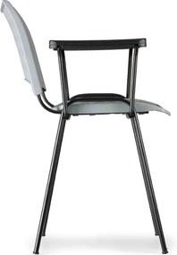 Plastová stolička SMART - chrómované nohy s podpierkami rúk, zelená