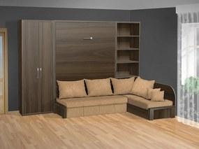 Nabytekmorava Sklápacia posteľ s rohovou pohovkou VS 3075P - 200x180 cm + policová skriňa 80 nosnost postele: štandardná nosnosť, farba lamina: orech 729, farba pohovky: nubuk 133 caramel