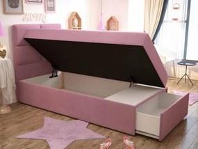 TM Detská čalúnená posteľ Love 90x200 Farba: Ružová, Úložný box: Pravá strana