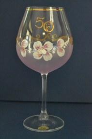 Výročný pohár na 50. narodeniny - NA VÍNO - ružový (v. 23 cm)