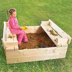 Detské pieskovisko s lavičkou + bábovičky ZADARMO (sila dreva 26 mm)