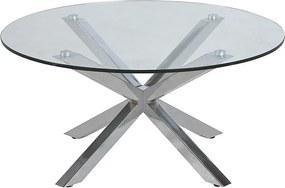 Konferenčný stolík sklenený Skyline, 82 cm - číra / chróm
