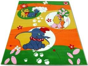 Detský kusový koberec Sloník zelený, Velikosti 100x200cm