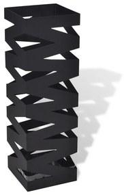 Čierny hranatý stojan na dáždniky a palice prechádzku 48,5 cm