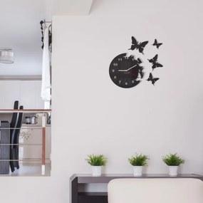 DomTextilu Nalepovacie hodiny na stenu s motívom motýľov 8063-21981