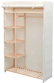 vidaXL Skriňa z látky a borovicového dreva, 110x40x170 cm
