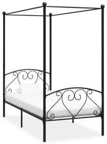 vidaXL Posteľný rám s baldachýnom, čierny, kov 120x200 cm