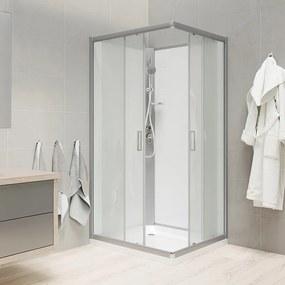 Mereo CK34122MSW sprchový box štvorcový, 90 cm, profily satin, sklo Point, liata vanička, so strieškou