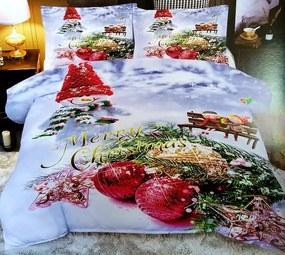 HoD Obliečky Vianočné gule Bavlna 40x50 70x90 140x200 cm