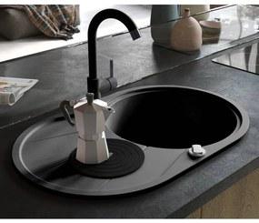 Granitový kuchynský drez s jednou vaničkou, oválny, čierny