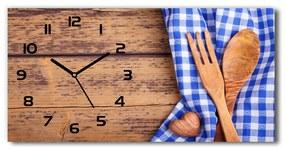 Sklenené hodiny na stenu Drevené príbory pl_zsp_60x30_f_88440875