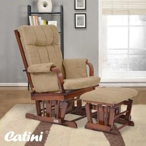 Komfortné relaxačné kreslo s taburetom Catini BENEDIKT tm.drevo