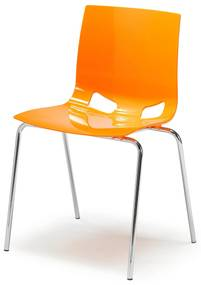 Jedálenská plastová stolička Phoenix, oranžová