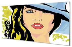 Nástenný panel žena klobúk 120x60cm