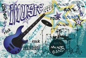 Dimex SK Fototapeta Modrá gitara MS-323, 4 rôzne rozmery XL - š-375 x v-250 cm