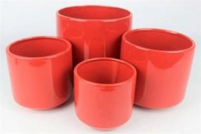 Červený keramický okrúhly kvetináč 18 cm