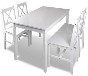 Drevený stôl a 4 drevené stoličky biela farba