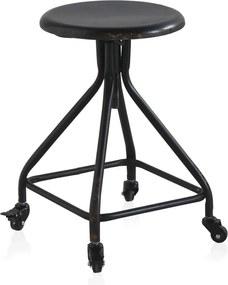 Čierna kovová pojazdná stolička na kolieskach s nastaviteľnou výškou Geese Industrial Style
