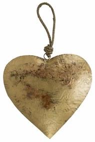 Dekorácie závesné zlaté retro srdce na lane - 30 * 18 * 18cm