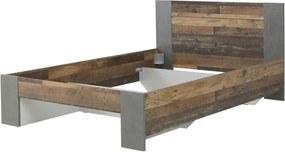 Sconto Posteľ CLIF staré drevo/sivá, 140x200 cm