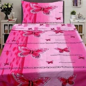 HoD Dvojstranné Obliečky Butterfly ružové Bavlna 70x90 140x200 cm