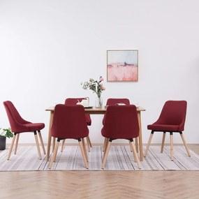 vidaXL Jedálenské stoličky 6 ks vínovo-červené látkové