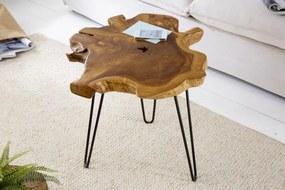 IIG -  Unikátny príručný stolík WILD 55 cm teak, prírodný