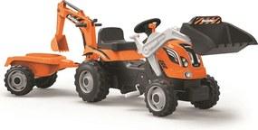SMOBY Šliapací traktor s bagrom a vozíkom Builder Max, oranžový