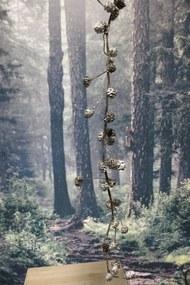 Hnedá girlanda s postriebrenými šiškami 100cm