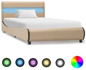 vidaXL Posteľný rám s LED, kapučínová farba, umelá koža 90x200 cm
