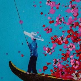 KARE DESIGN Obraz s ručnými ťahmi Flower Boat 160 × 120 cm