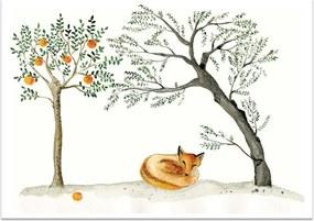 MANKAI Paper Plagát so spiaciou líškou A4 Sleeping Fox