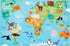 Obsession koberce Dětský kusový koberec Torino kids 233 WORLD MAP - 80x120 cm