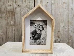 fotorámik drevený dom prírodný 21x14cm