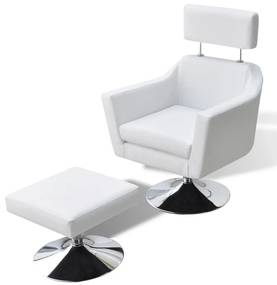 vidaXL TV kreslo, biele, umelá koža