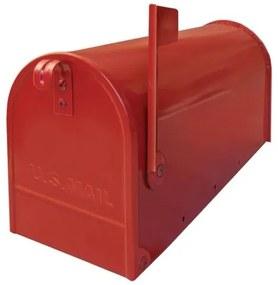 USA1NE - poštová schránka, americká s vlajočkou a stojanom, červená
