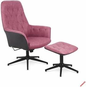 Relaxačné kreslo s podnožkou VAGNER ružová Halmar