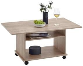 FMD Konferenčný stolík s kolieskami farba dubu