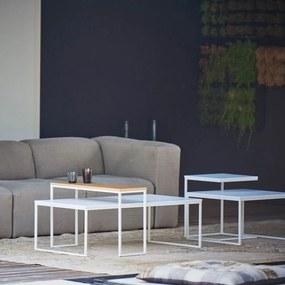 Konferenčný stôl FLAT   60×110 cm   biela  podnož » dubový plát