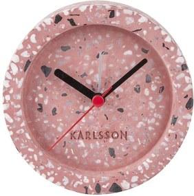 KARLSSON Ružový kameninový budík Tom Tarazzo