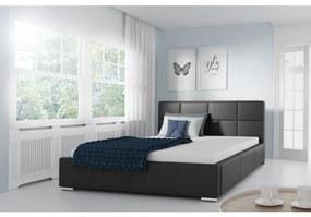 Jednoduchá posteľ Marion 120x200, čierna eko koža