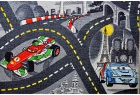 Vopi koberce AKCE: 260x530 cm s obšitím Metrážový koberec The World of Cars 97 šedý - Rozměr na míru s obšitím cm