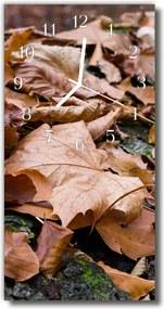 Sklenené hodiny vertikálne  Príroda Jesenné oranžové listy