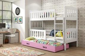 Poschodová posteľ s prístelkou KUBO 3 - 190x80cm Biela - Ružová
