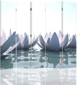 CARO Paraván - Lily On The Water | päťdielny | obojstranný 180x180 cm