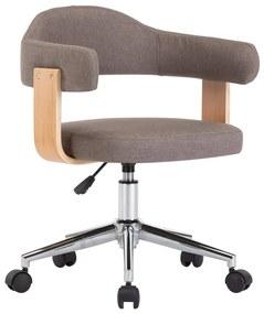 vidaXL Otočná kancelárska stolička sivohnedá ohýbané drevo a látka