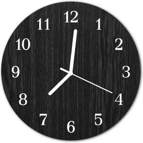 Sklenené hodiny okrúhle  drevo