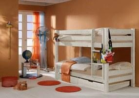 MAXMAX Detská poschodová posteľ Barca PLUS 200x90 cm so zásuvkami - biela